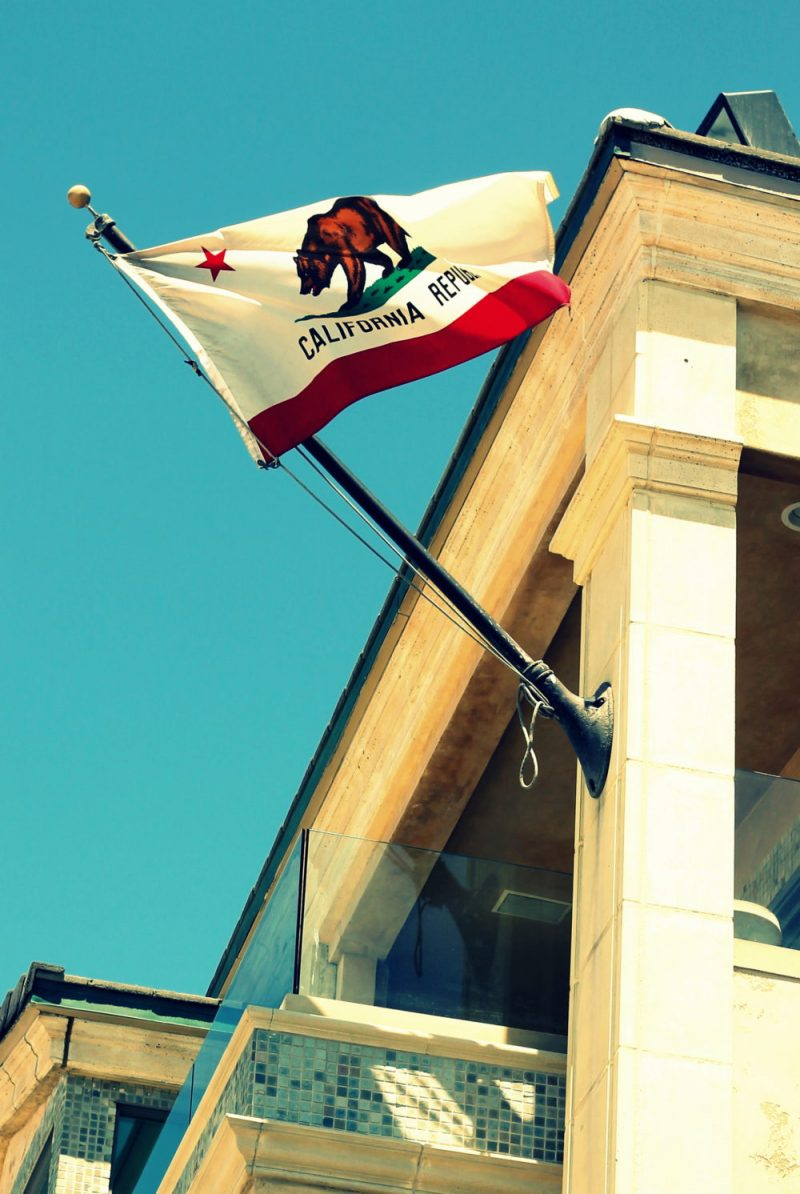 California Republic flag flying