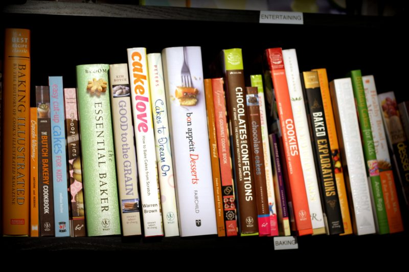 Cookbooks on a shelf
