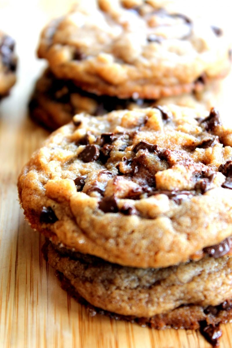 Two peanut butter chocolate chip cookies stacked