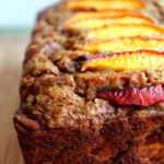 banana bread with peach toppings