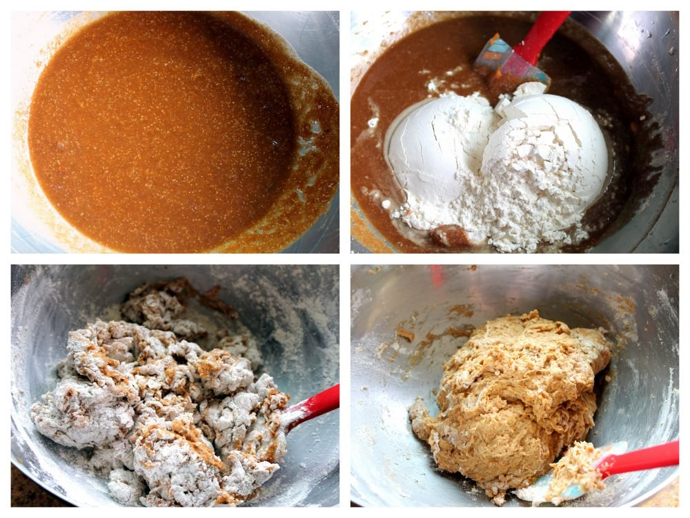 Step-by-step making homemade pumpkin bagel dough