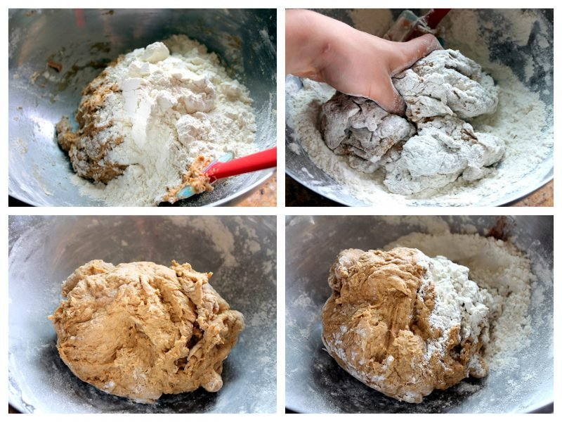 collage of making homemade pumpkin spice bagel dough