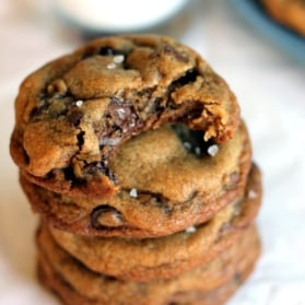 Brown butter chocolate chip cookies in a stack