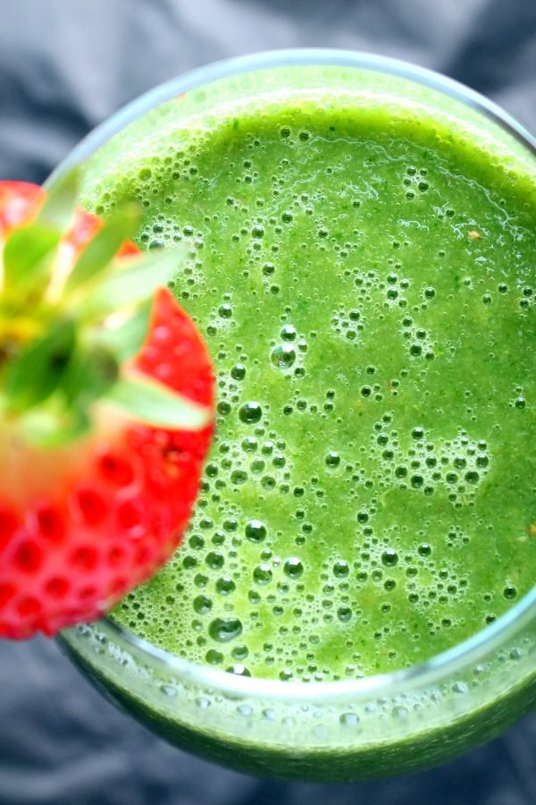 Vegan Detox Green Monster Smoothie With Kale Strawberry