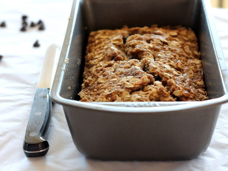 Chocolate chip oatmeal banana bread in a loaf pan