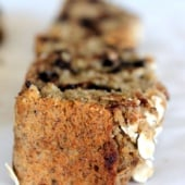 Slice of chocolate chip oatmeal banana bread