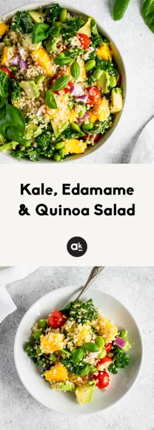 collage of kale quinoa salad