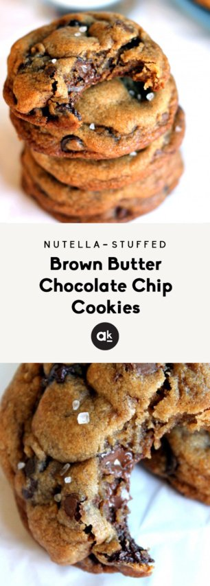 Nutella stuffed chocolate chip cookies with text overlay