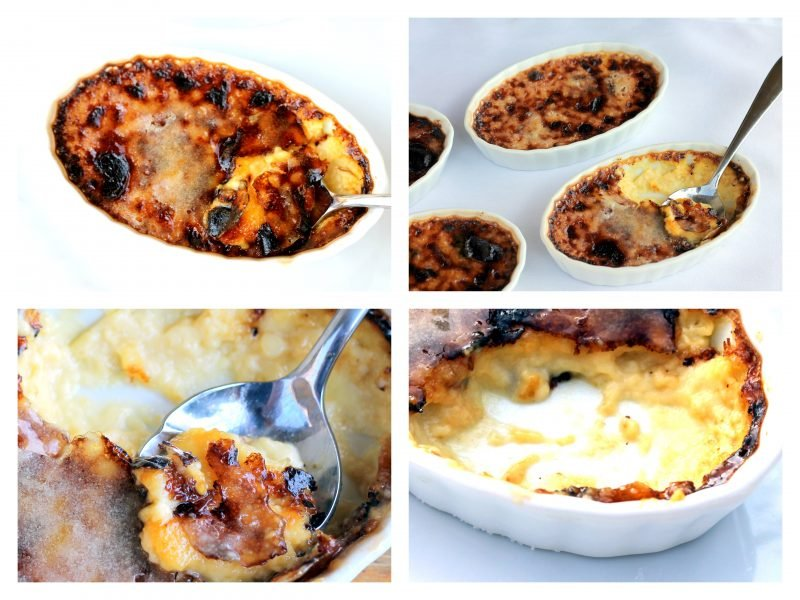 Collage of creme brulee being scooped out of a ramekin