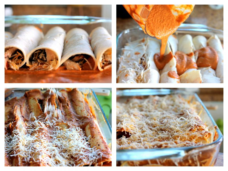 four panel collage making pumpkin enchiladas
