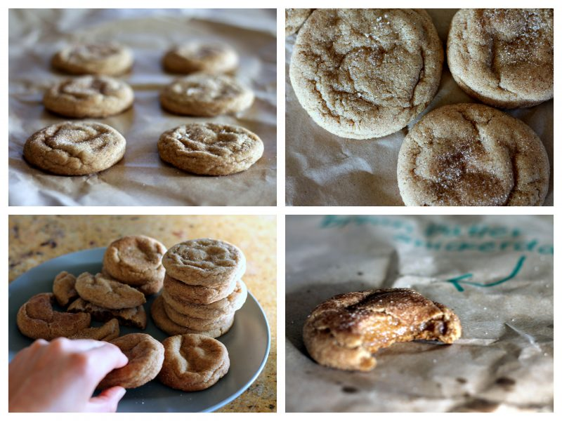 Collage of brown butter snickerdoodle cookies