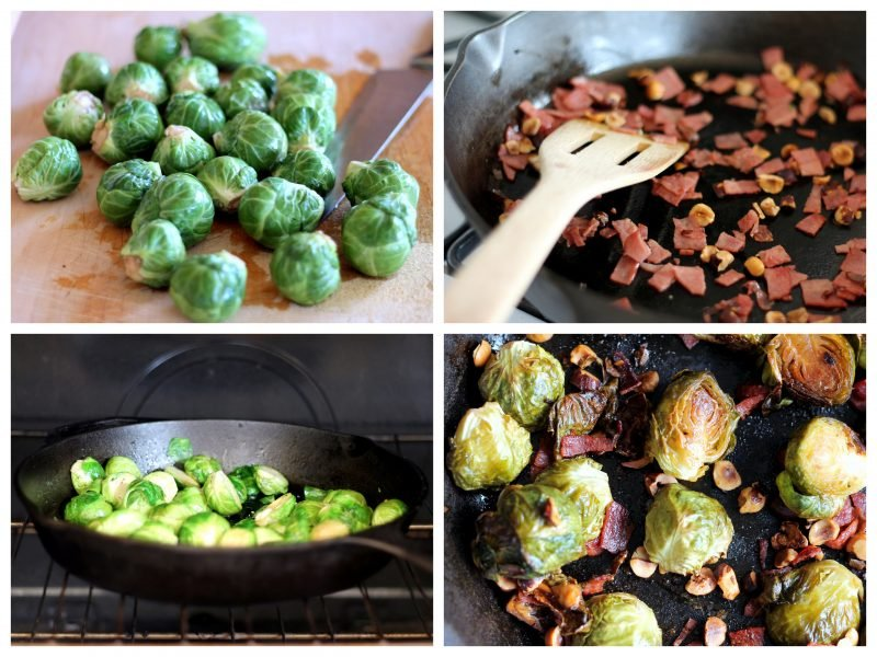 Collage of making maple roasted brussels sprouts with bacon
