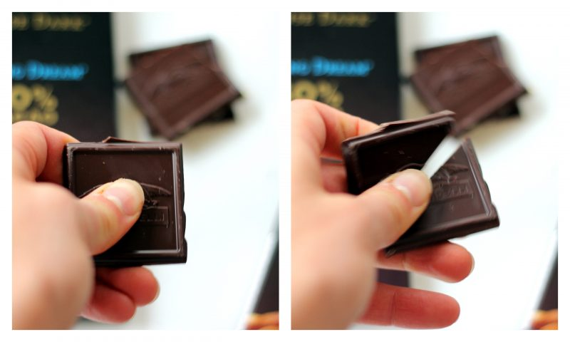Collage of holding and breaking a square of chocolate