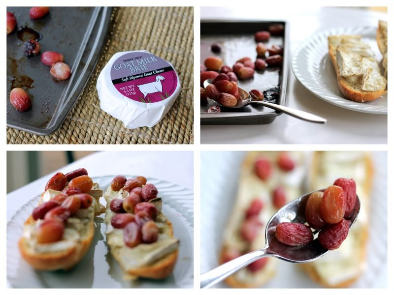 Collage of brie crostini being topped with roasted grapes