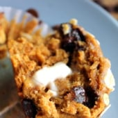 Pumpkin oatmeal chocolate chip muffin with butter