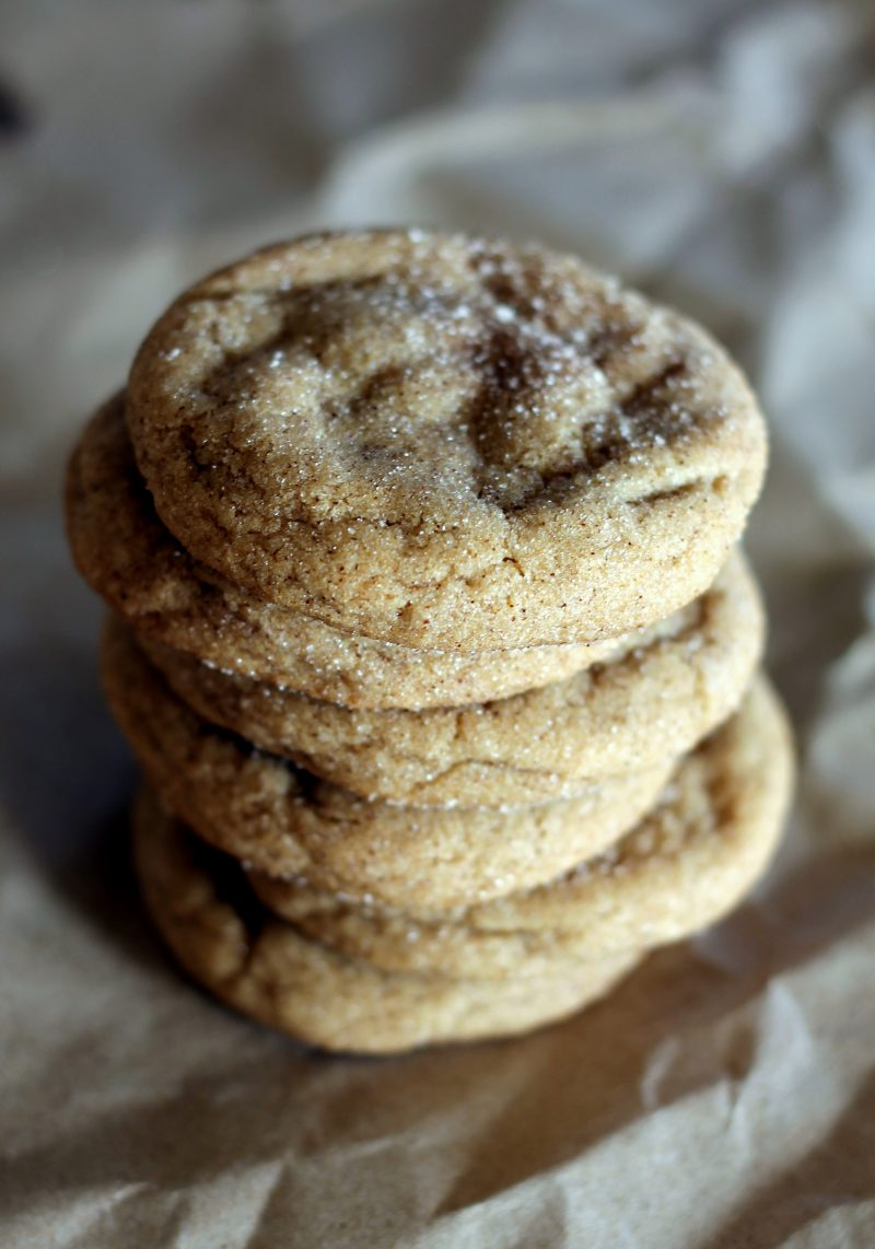 Brown butter snickerdoodle cookies in a stack