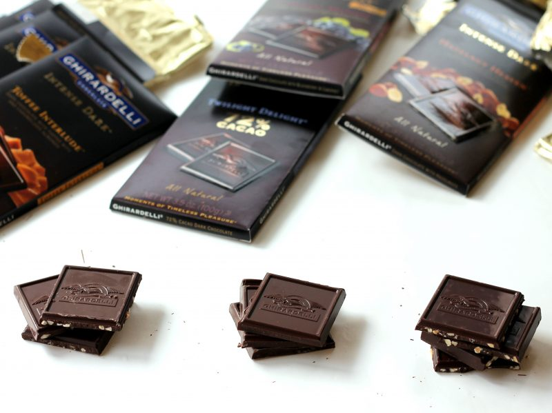 Three chocolate bar flavors with square stacked up