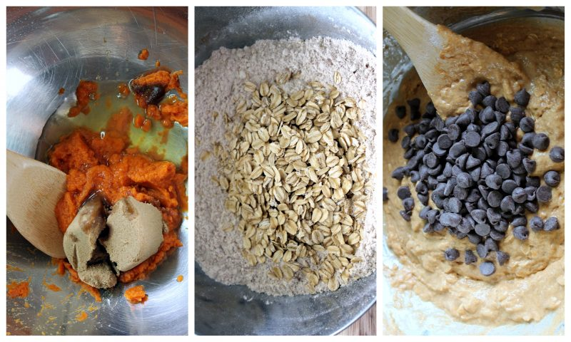 Collage of mixing pumpkin oatmeal chocolate chip muffin batter