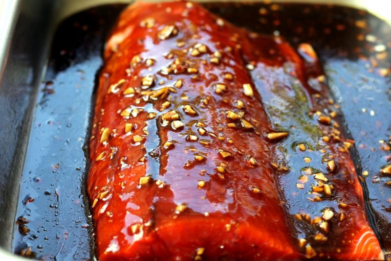 Glazed salmon on a pan