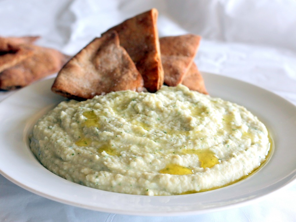 Garlic White Bean Basil Hummus + Homemade Toasted Pita Chips ...