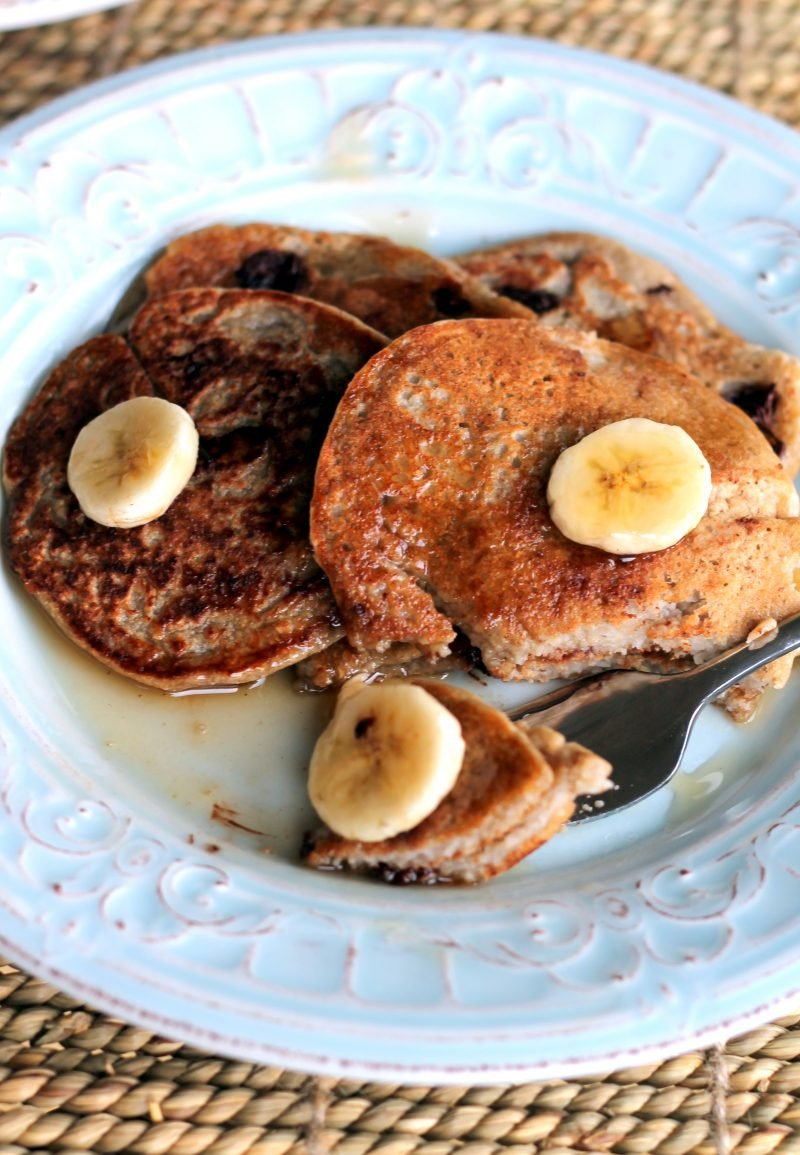 Oatmeal Chocolate Chip Banana Pancakes Healthy Vegan Gluten Free Ambitious Kitchen