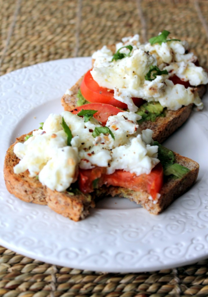 Open-faced Power Breakfast Sandwich with egg whites, avocado & tomato ...