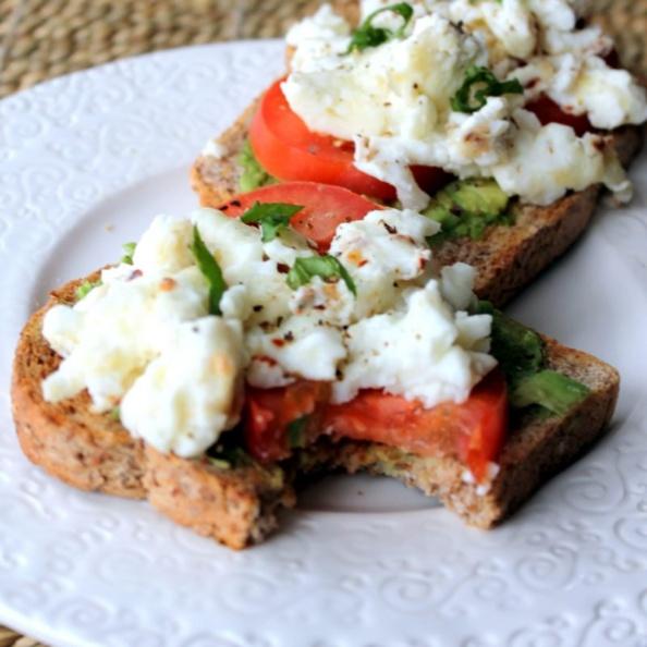 Open-faced power breakfast sandwich on a plate