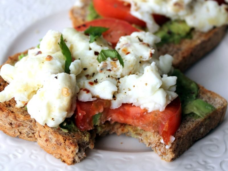 Open-faced healthy breakfast sandwich on a plate