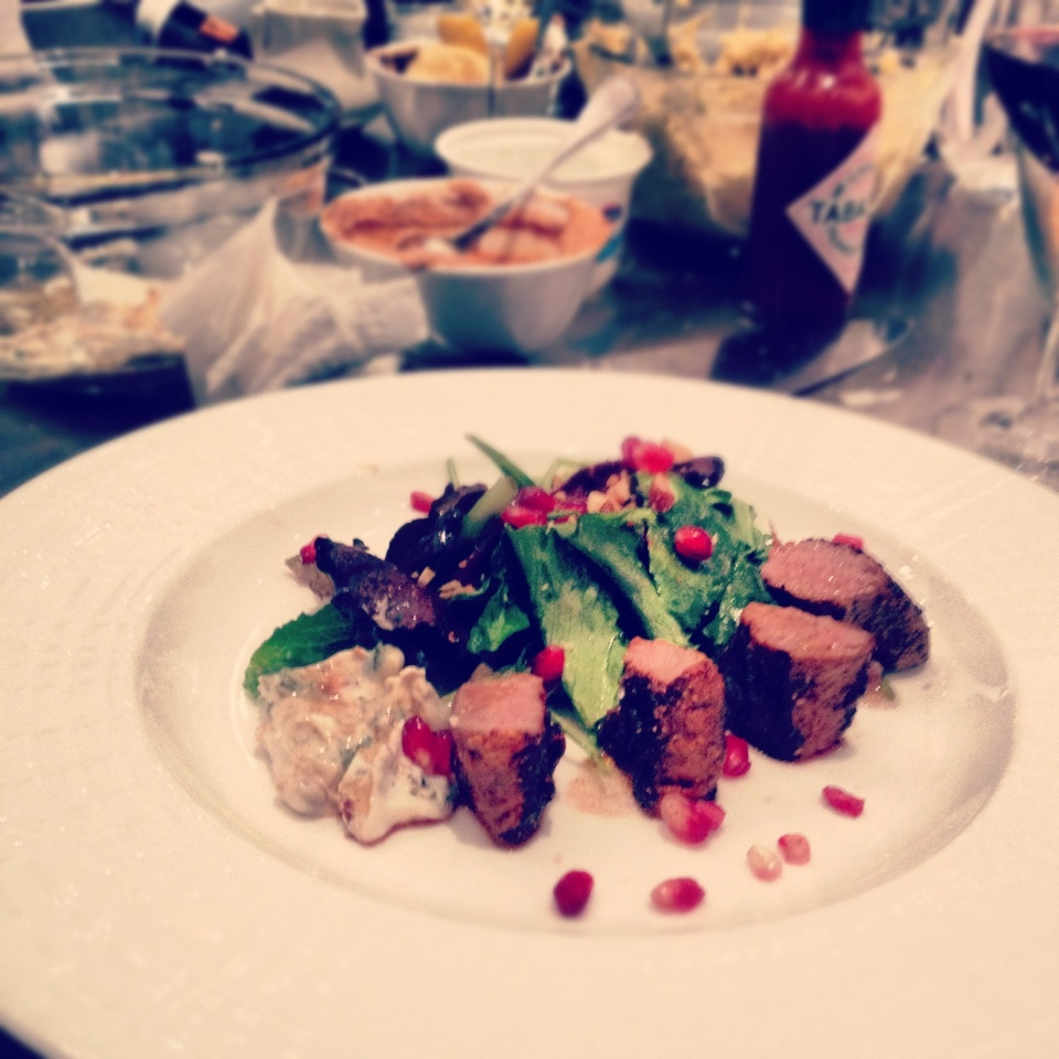 steak dinner on a plate