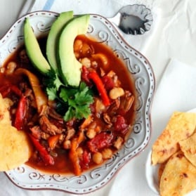 Chili chicken soup with avocado