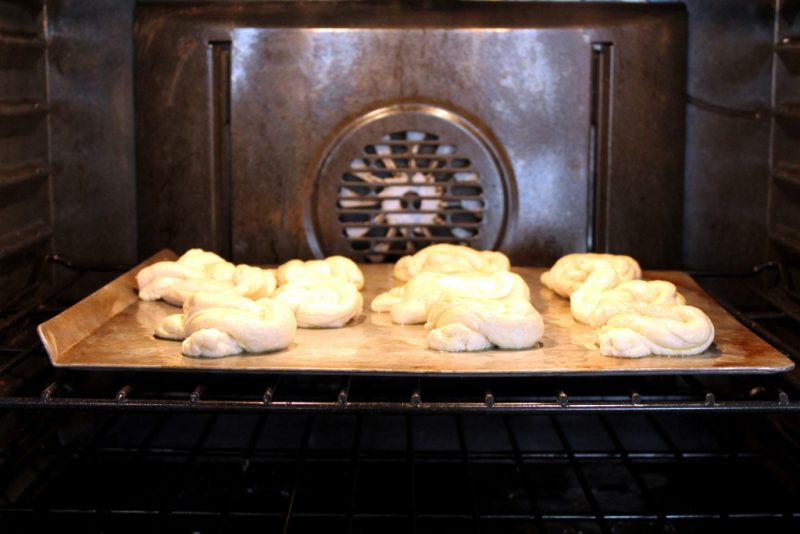 pretzels baking in oven