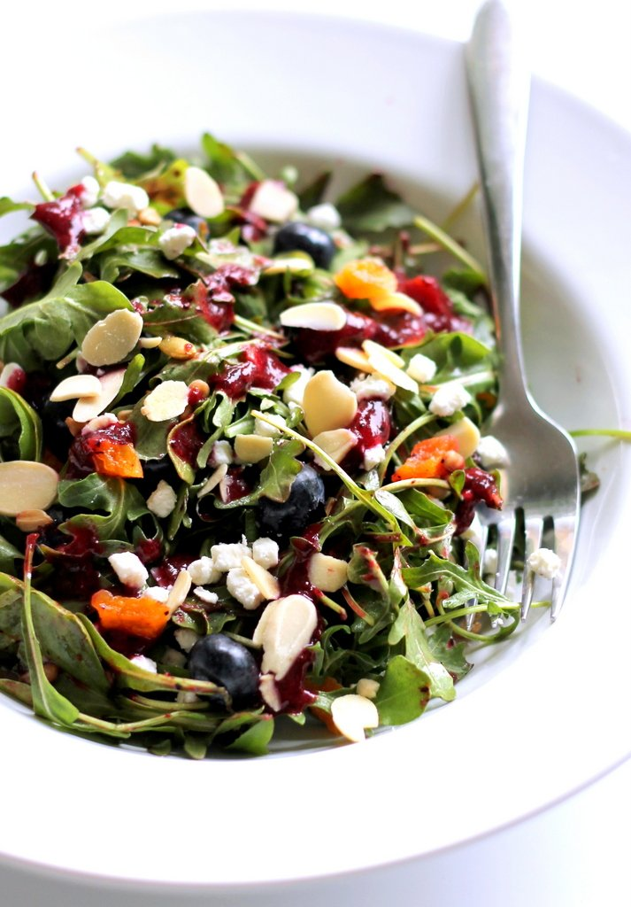 blueberry arugula salad with fruit, goat cheese, and nuts