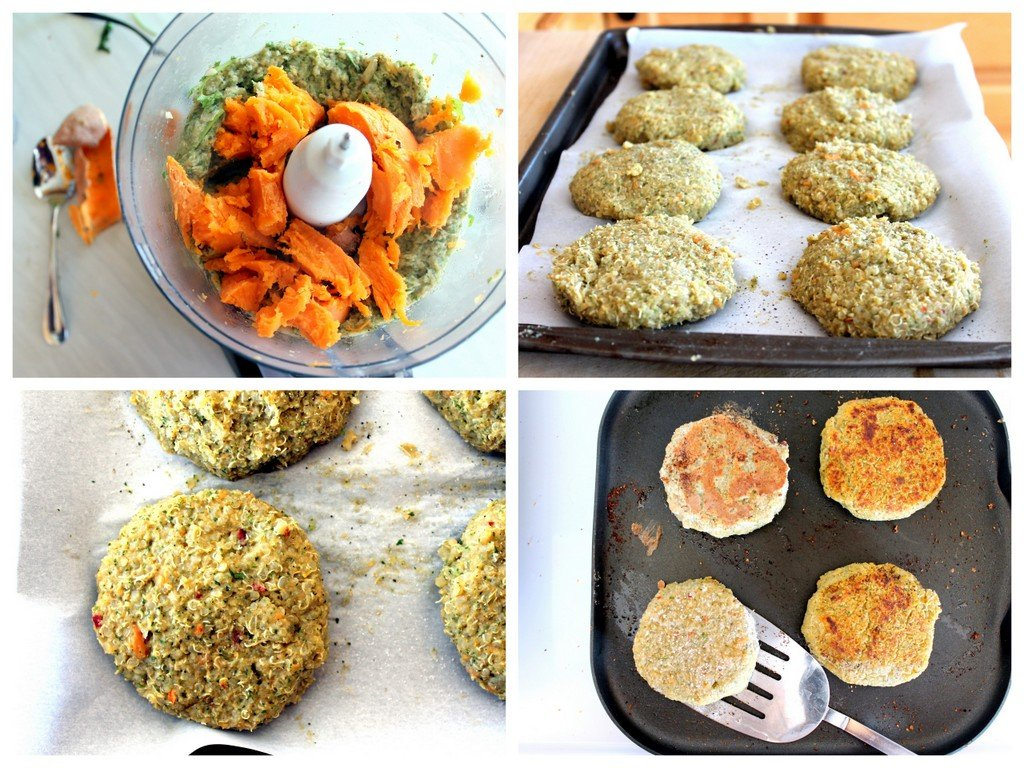 collage of making sweet potato quinoa burgers