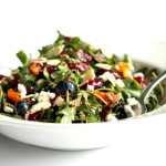Toasted Almond & Blueberry Arugula Salad with Goat Cheese + Blueberry Balsamic Vinaigrette