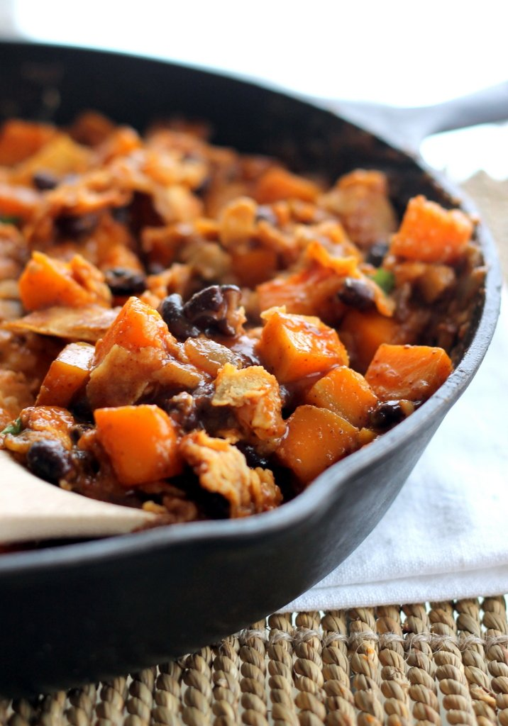 Butternut Squash With Black Beans And Walnuts