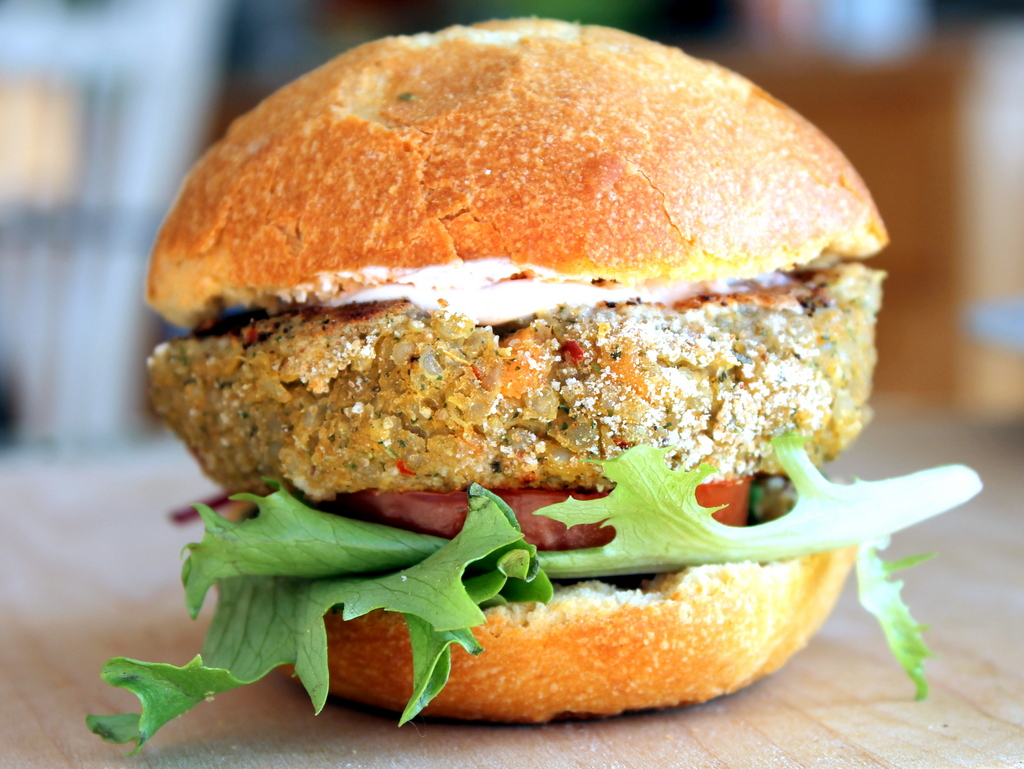 Chickpea Sweet Potato Quinoa Burgers with Spiced Yogurt Sauce + {a ...