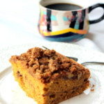 Melt-in-Your-Mouth Brown Butter Pumpkin Coffee Cake with Pecan Gingersnap Cookie Streusel
