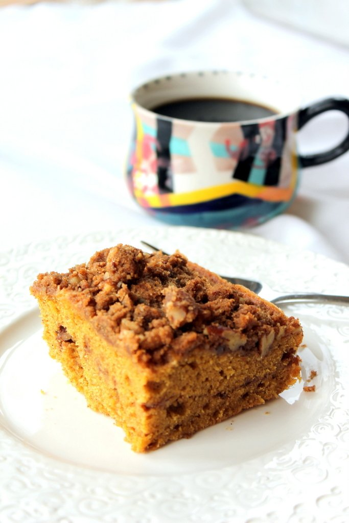 Pumpkin Coffee Cake on a plate
