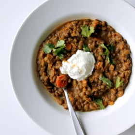 bowl of sweet potato and lentil stew