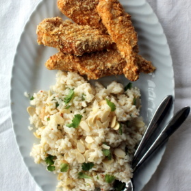 crusted chicken and rice with almonds and cilantro