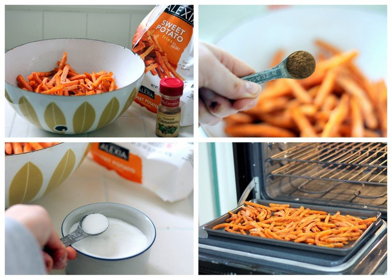 photo collage showing process to make sweet potato fries