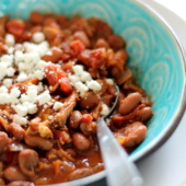 bowl of pinto bean chicken chili