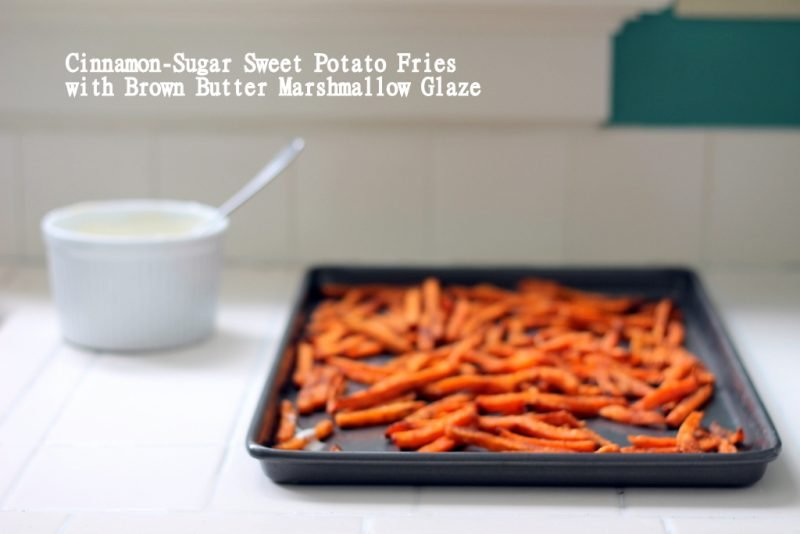 sweet potato fries in pan on kitchen counter