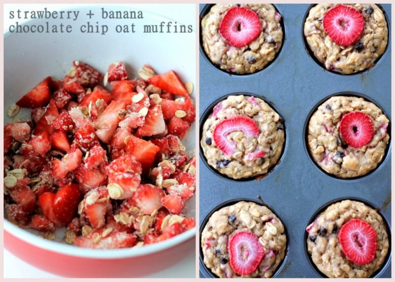 bowl of strawberries and oats and strawberry banana muffins