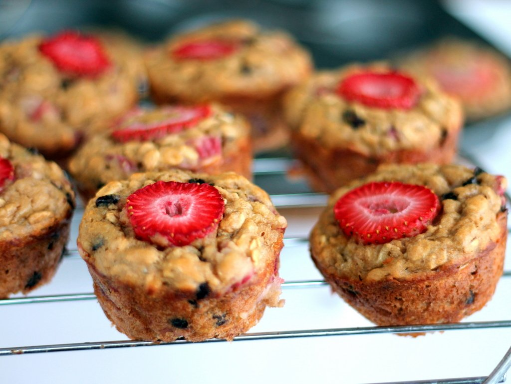 Strawberry + Banana Chocolate Chip Oatmeal Muffins made with greek ...
