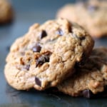 Peanut Butter Oatmeal Chocolate Chip Cookies {flourless, no butter}