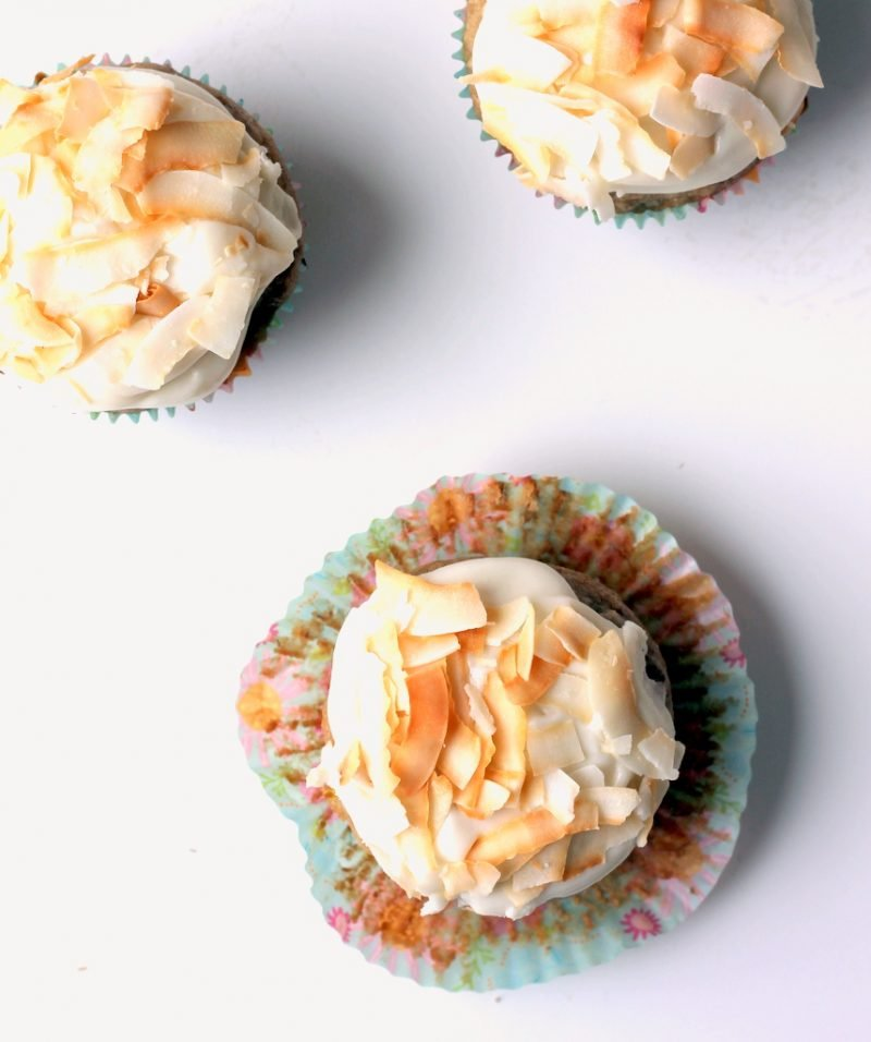 hummingbird cupcakes with coconut cream cheese frosting
