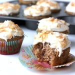 Lightened up Hummingbird Cupcakes with Toasted Coconut Cream Cheese Frosting
