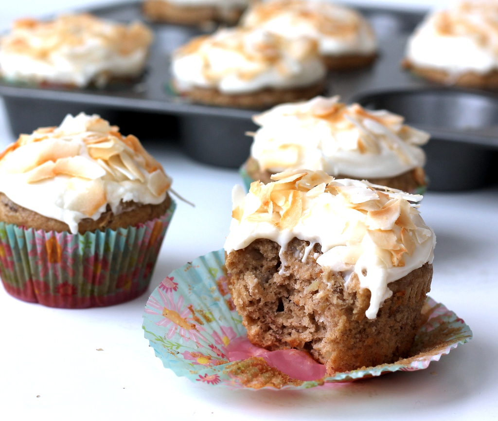 Lightened up Hummingbird Cupcakes with Toasted Coconut ...