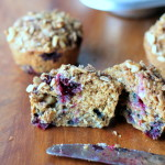 Oatmeal Blueberry Applesauce Muffins with Walnut Oat Streusel